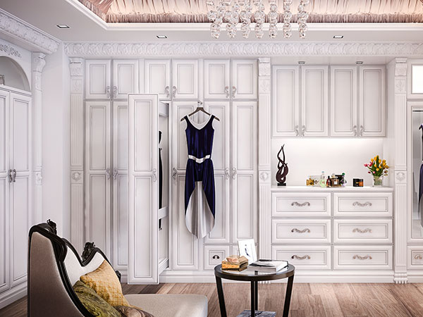 dressing room with dtess on valet rack
