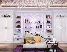 ornate molding and cabinets in dressing room