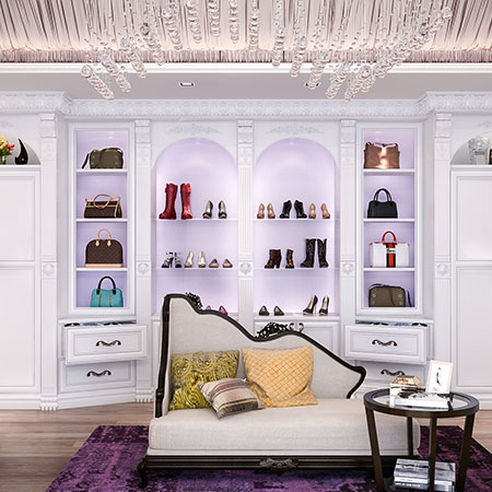 sitting area in dressing room with acanthus moldings