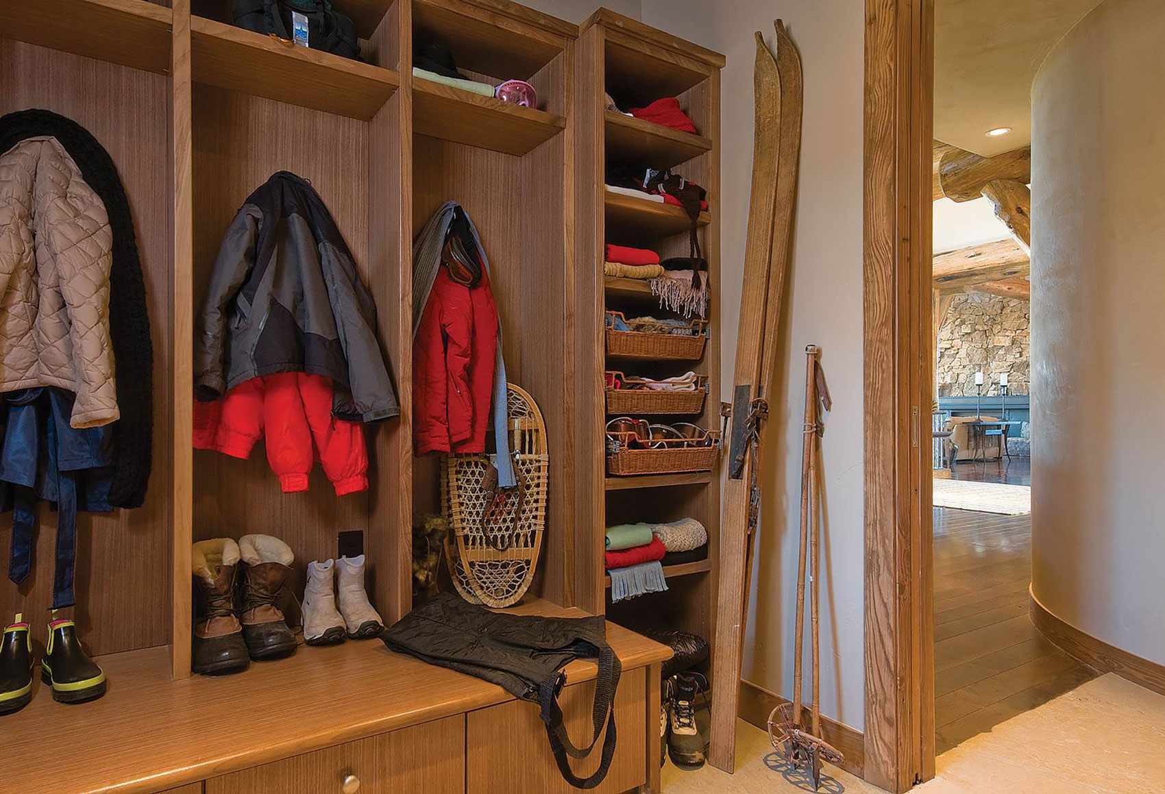 Denver mudroom with skis