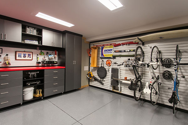 black garage with red counter