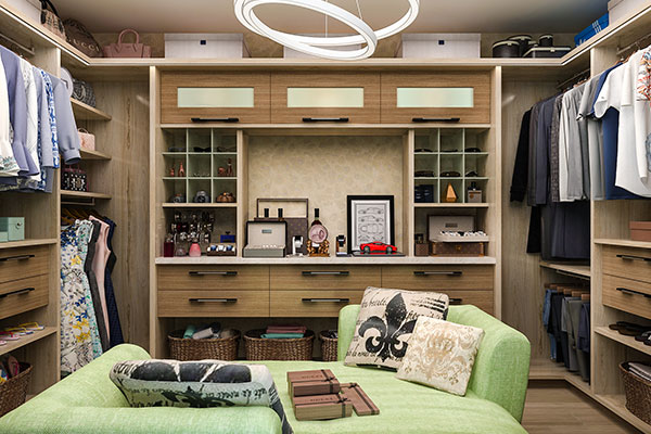 large walk-in with wood grain material