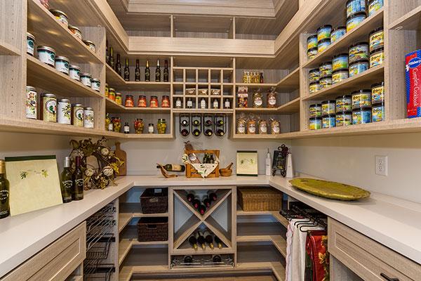 wak-in pantry in woodgrain and white countertop
