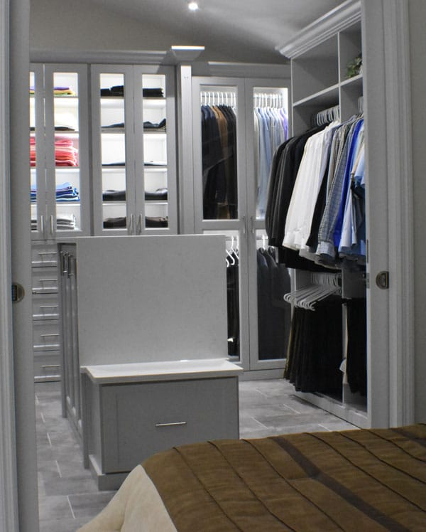 view of a custom walk in closet from a bedroom