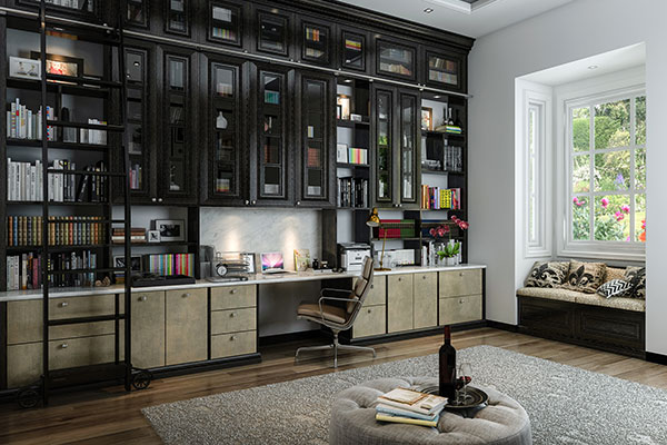 black office with ladder
