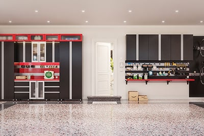 garage cabinets in black and red