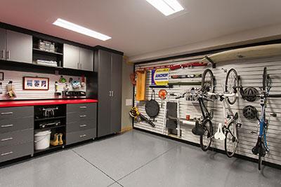 black work station in garage