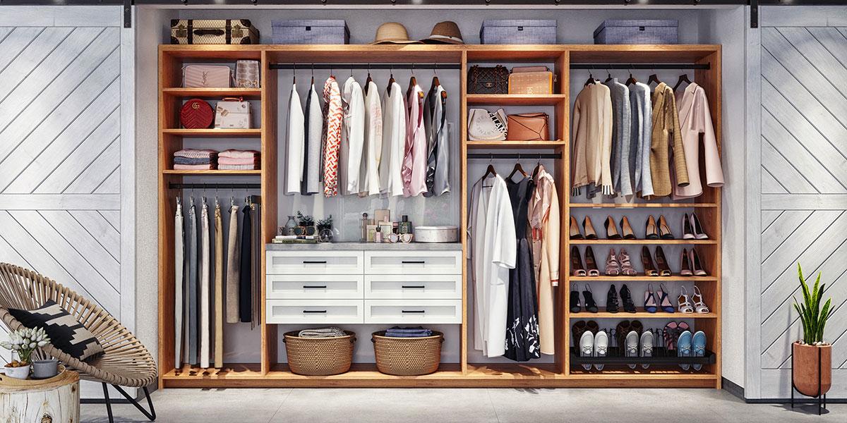 organized reach-in closet