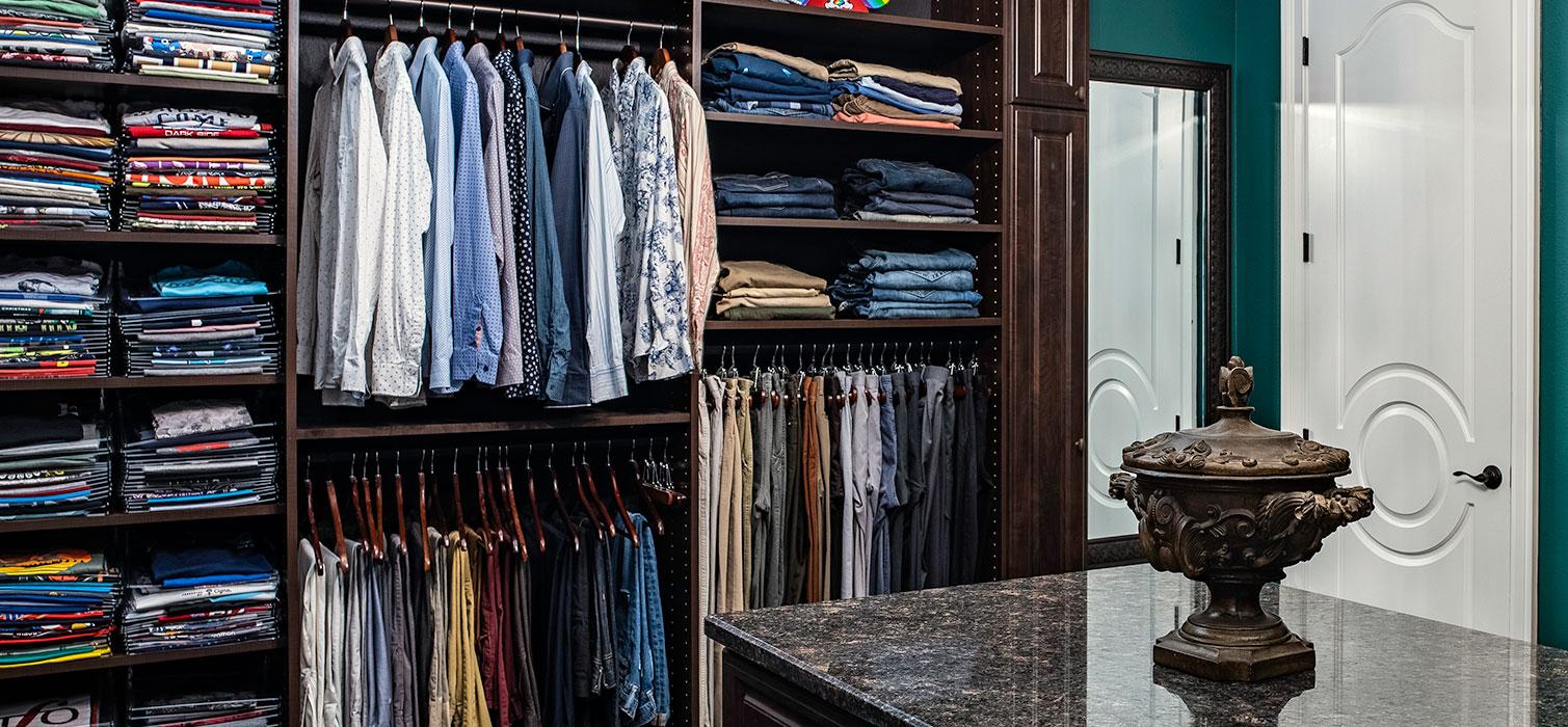 shelves with folded tee shirts