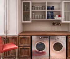 laundry room builtin wall unit with counter and upper cabinets