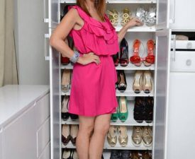 jill zarin in front of shoe cabinet in bedroom
