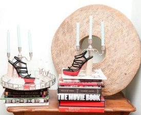 display with shoes and books