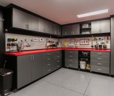 black and red custom garage cabinets
