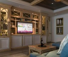 The game room features a rustic style wall unit design.