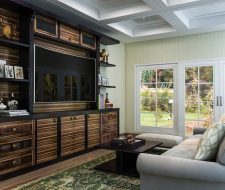 zebrawood entertainment center with floating shelves