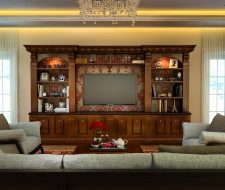Luxury custom made entertainment center in wood