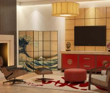 asian influence tv unit that has a red asian design