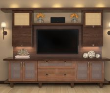modern tv media center in stained wood