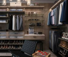 Floating Finesse Closet System With Glass Shelves