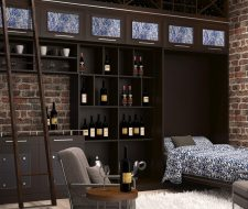 contemporary wall bed unit wine storage and bar