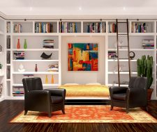 painted white wall bed and murphy bed library