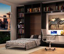 loft with zebra theme wall bed