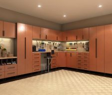 metal copper cabinets in garage