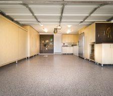 garage with sliding door cabinets