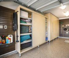 garage with bipass doors