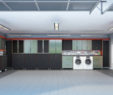 black cabinets with metal garage