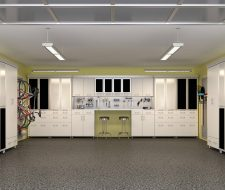metal and high gloss cabinets in garage