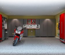 grey and red cabinets in garage three walls