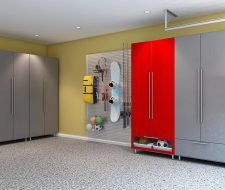 grey and red cabinets in garage