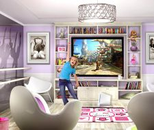 custom white wash big screen tv center in child room