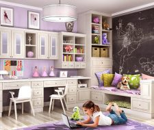 custom child playroom with daybed and pet nook
