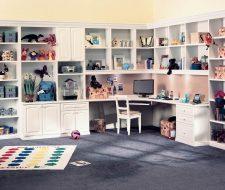 white corner workstation for children