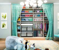child closet with fabric baskets