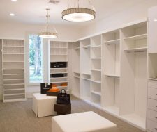 high gloss white melamine walk in closet design