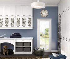 extra tall laundry room cabinets, work area and pet nook
