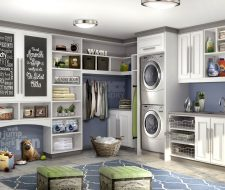 adorable laundry room with pet nook, chalk board and counter top