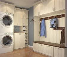 combo mudroom and laundry space cabinets
