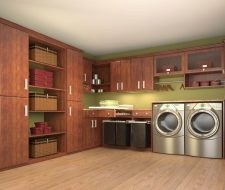 laundry room wood grain cabinets and folding counter