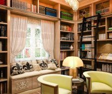 library at home with bench