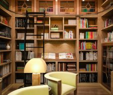 library with rolling ladder and wood shelving
