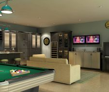 man cave with bar