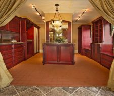 Tommy Bahama stained solid wood ornate custom dressing room closet