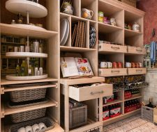maple walk in pantry and cutting board cart