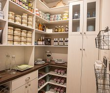 walkin pantry shelving and cabinets