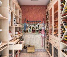 walkin pantry shelving and tuscan wall paper