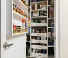 reachin closet with pantry shelving spice rack on door